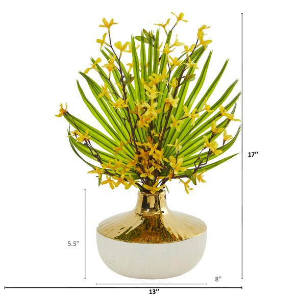 Forsythia and Fan Palm Artificial Arrangement - SKU #A1009 - 1