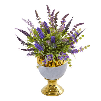 19 Lavender Artificial Arrangement in Decorative Urn - SKU #A1010