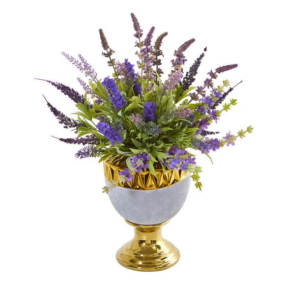 19 Lavender Artificial Arrangement in Decorative Urn - SKU #A1010