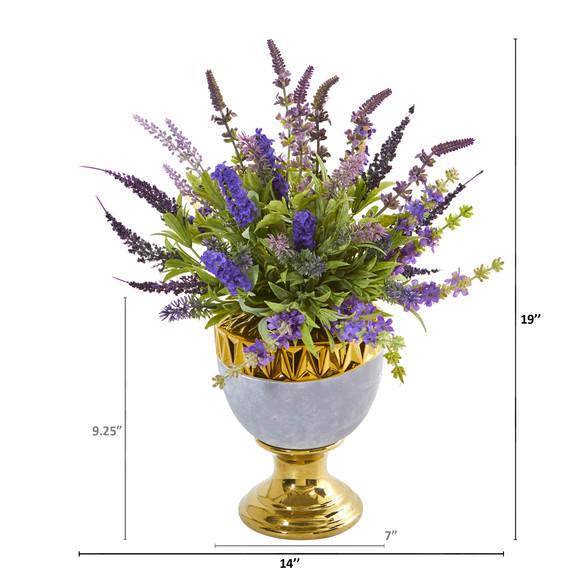 19 Lavender Artificial Arrangement in Decorative Urn - SKU #A1010 - 1