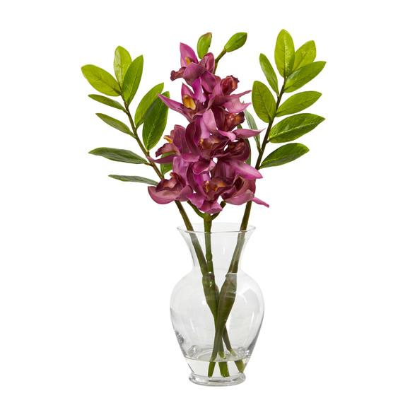 Cymbidium Orchid and Zamioculcas Artificial Arrangement - SKU #A1011 - 2