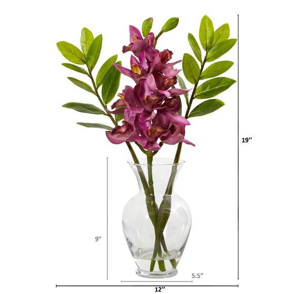 Cymbidium Orchid and Zamioculcas Artificial Arrangement - SKU #A1011 - 3
