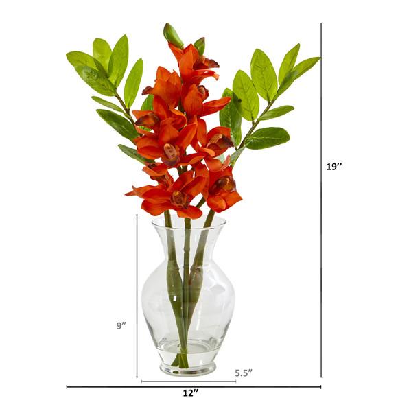 Cymbidium Orchid and Zamioculcas Artificial Arrangement - SKU #A1011 - 5
