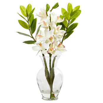 Cymbidium Orchid and Zamioculcas Artificial Arrangement - SKU #A1011