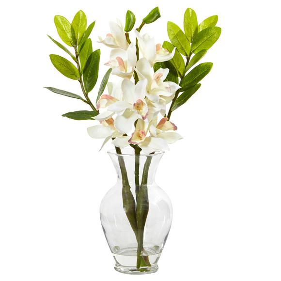 Cymbidium Orchid and Zamioculcas Artificial Arrangement - SKU #A1011