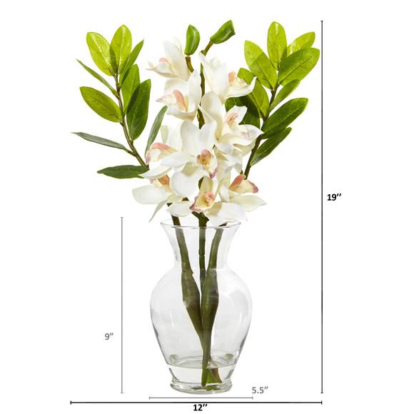 Cymbidium Orchid and Zamioculcas Artificial Arrangement - SKU #A1011 - 1