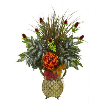 Peony Mixed Greens and Thistle Artificial Arrangement - SKU #A1012