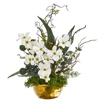 23 Dogwood Artificial Arrangement in Gold Vase - SKU #A1013