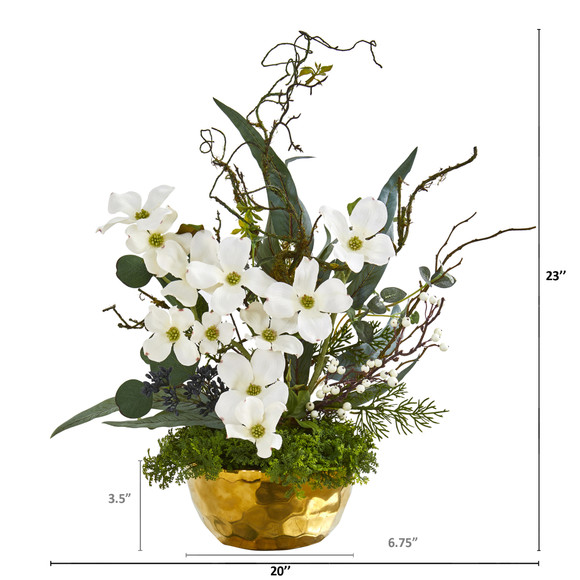 23 Dogwood Artificial Arrangement in Gold Vase - SKU #A1013 - 1