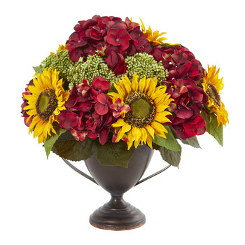 Sunflower and Hydrangea Artificial Arrangement - SKU #A1014