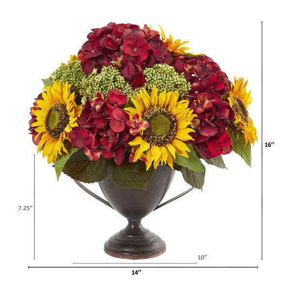 Sunflower and Hydrangea Artificial Arrangement - SKU #A1014 - 1
