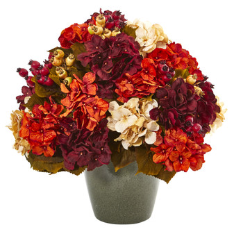 20 Autumn Hydrangea Artificial Arrangement in Green Vase - SKU #A1015