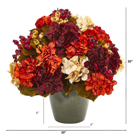 20 Autumn Hydrangea Artificial Arrangement in Green Vase - SKU #A1015 - 1