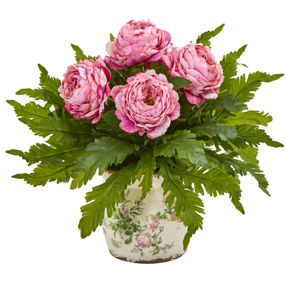 Peony and Fern Artificial Arrangement in Floral Vase - SKU #A1017