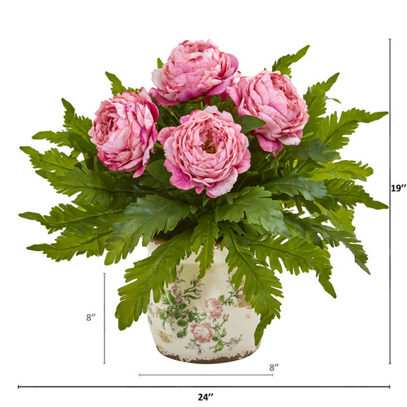 Peony and Fern Artificial Arrangement in Floral Vase - SKU #A1017 - 1