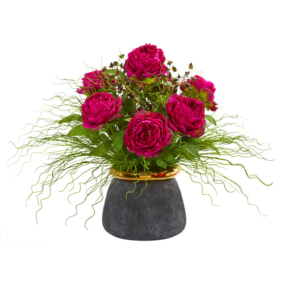Peony and Grass Artificial Arrangement in Designer Vase - SKU #A1018