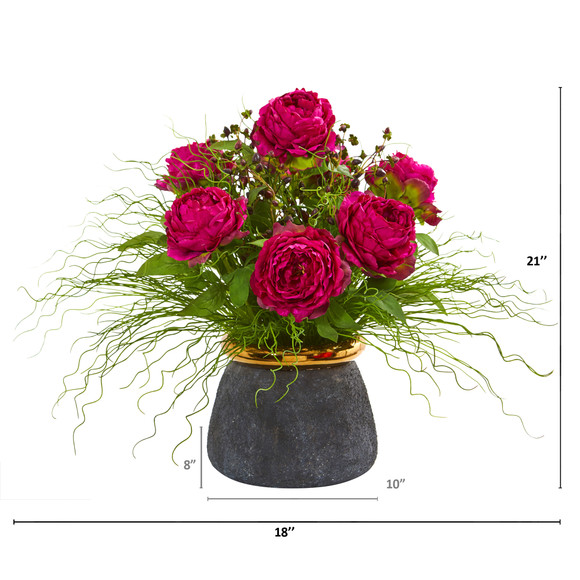 Peony and Grass Artificial Arrangement in Designer Vase - SKU #A1018 - 1