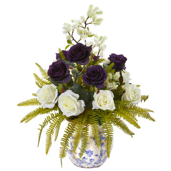 Rose Thistle and Grass Artificial Arrangement in Vase - SKU #A1019