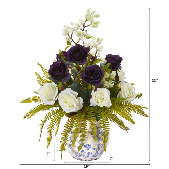 Rose Thistle and Grass Artificial Arrangement in Vase - SKU #A1019 - 1