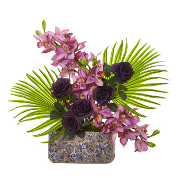 Cymbidium Orchid Rose and Fan Palm Artificial Arrangement - SKU #A1020