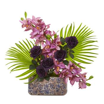 Cymbidium Orchid Rose and Fan Palm Artificial Arrangement - SKU #A1020