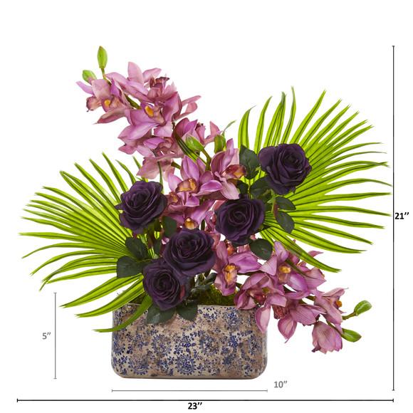 Cymbidium Orchid Rose and Fan Palm Artificial Arrangement - SKU #A1020 - 1