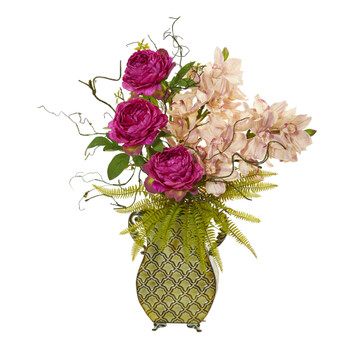 Cymbidium Orchid Peony and Grass Artificial Arrangement - SKU #A1021