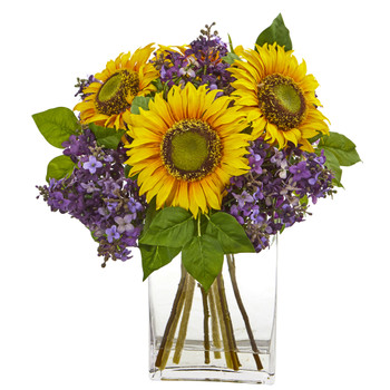 Sunflower and Lilac Artificial Arrangement in Vase - SKU #A1022