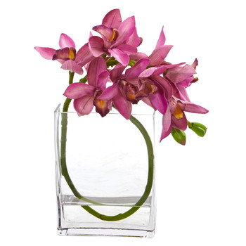 Cymbidium Orchid Artificial in Glass Vase - SKU #A1023