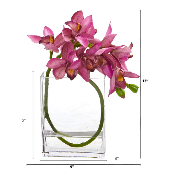 Cymbidium Orchid Artificial in Glass Vase - SKU #A1023 - 3
