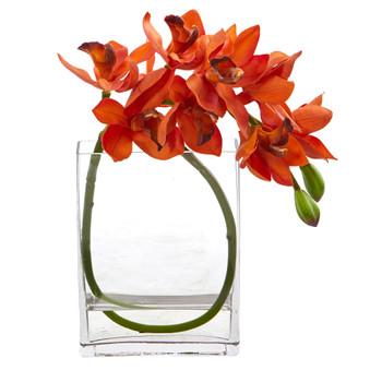 Cymbidium Orchid Artificial in Glass Vase - SKU #A1023-OG