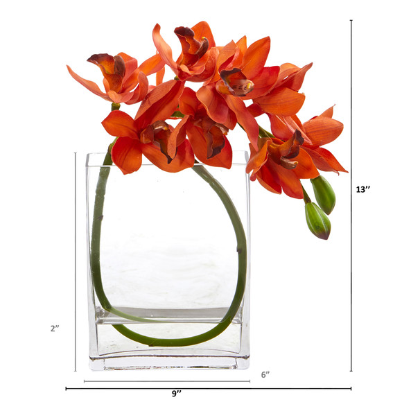 Cymbidium Orchid Artificial in Glass Vase - SKU #A1023 - 5
