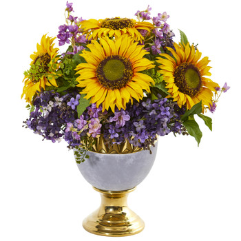 Sunflower and Lilac Artificial Arrangement in Stoneware Urn with Gold Trimming - SKU #A1024