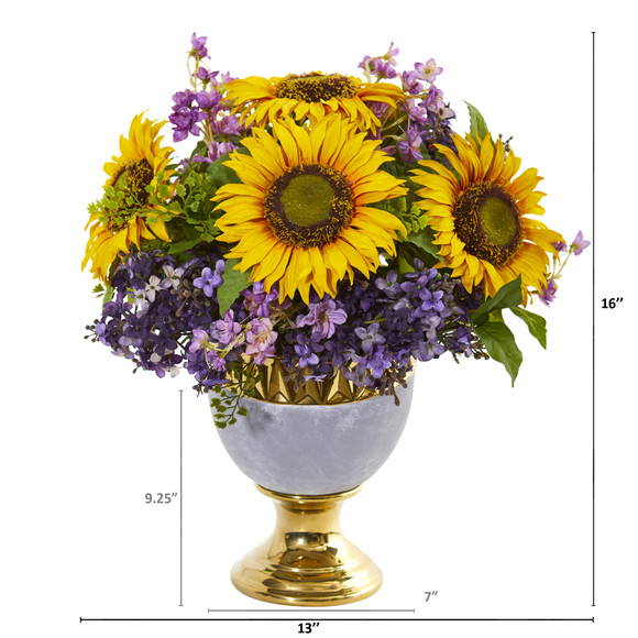 Sunflower and Lilac Artificial Arrangement in Stoneware Urn with Gold Trimming - SKU #A1024 - 1