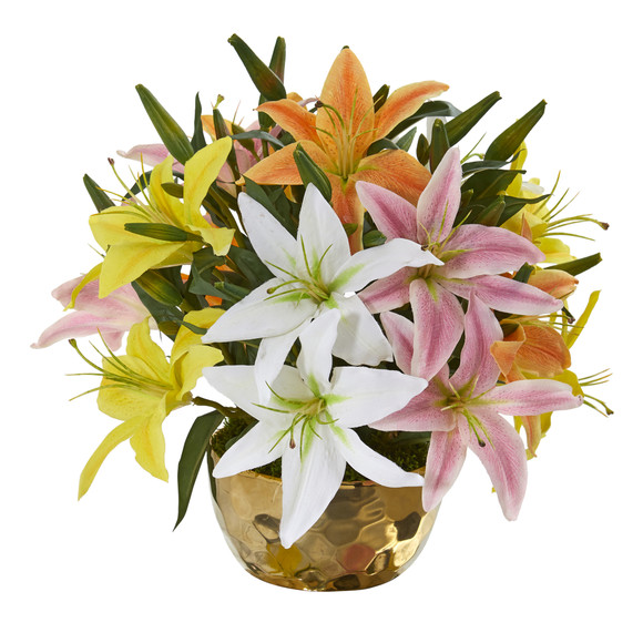 Lily Artificial Arrangement in Gold Vase - SKU #A1027 - 6