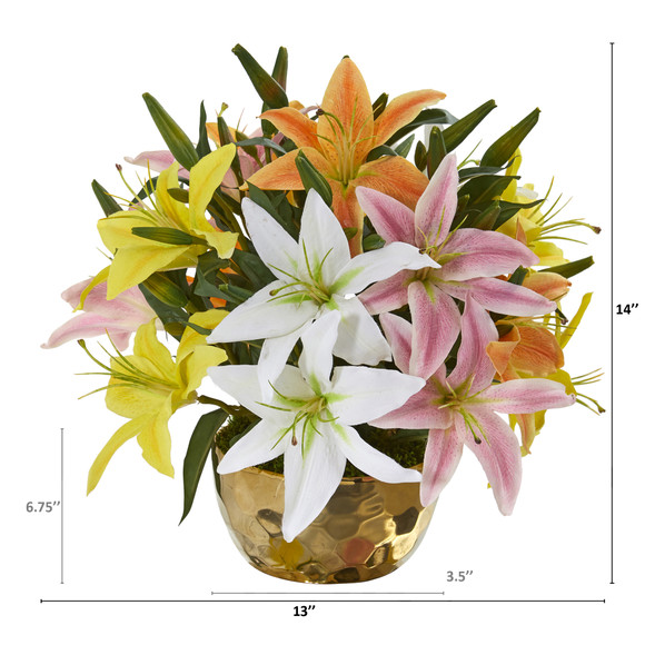 Lily Artificial Arrangement in Gold Vase - SKU #A1027 - 7