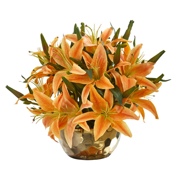 Lily Artificial Arrangement in Gold Vase - SKU #A1027 - 8