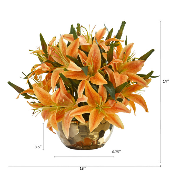 Lily Artificial Arrangement in Gold Vase - SKU #A1027 - 9