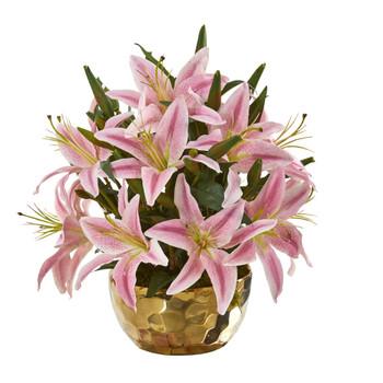 Lily Artificial Arrangement in Gold Vase - SKU #A1027