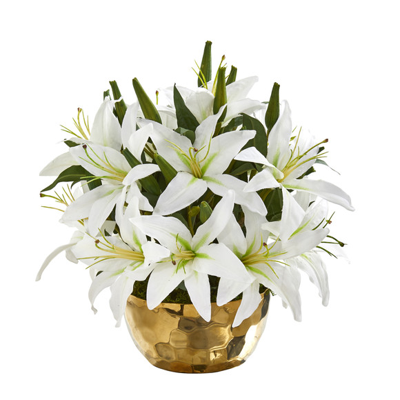 Lily Artificial Arrangement in Gold Vase - SKU #A1027 - 2