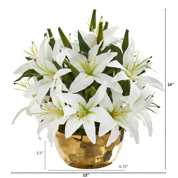 Lily Artificial Arrangement in Gold Vase - SKU #A1027 - 3