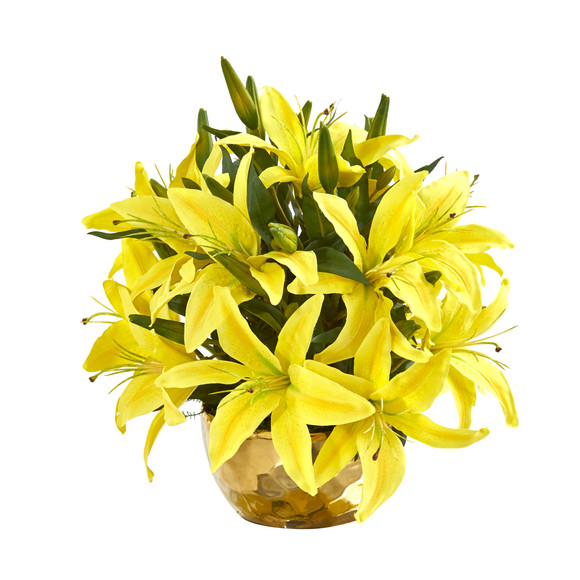 Lily Artificial Arrangement in Gold Vase - SKU #A1027 - 4