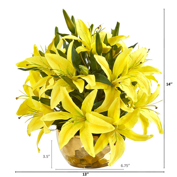 Lily Artificial Arrangement in Gold Vase - SKU #A1027 - 5