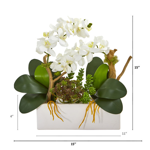 15 Phalaenopsis Orchid and Succulent Artificial Arrangement - SKU #A1028-WH - 1
