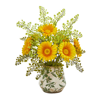 Gerber Daisy and Maiden Hair Artificial Arrangement in Vase - SKU #A1029