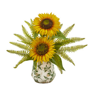 Sunflower and Fern Artificial Arrangement in Vase - SKU #A1030