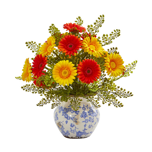 Gerber Daisy and Maiden Hair Artificial Arrangement in Vase - SKU #A1031 - 4