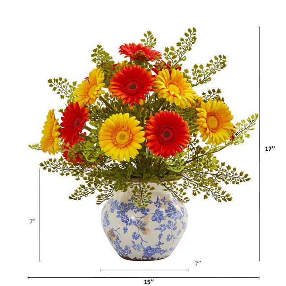 Gerber Daisy and Maiden Hair Artificial Arrangement in Vase - SKU #A1031 - 5