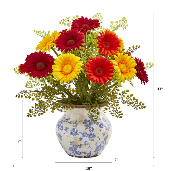 Gerber Daisy and Maiden Hair Artificial Arrangement in Vase - SKU #A1031 - 3