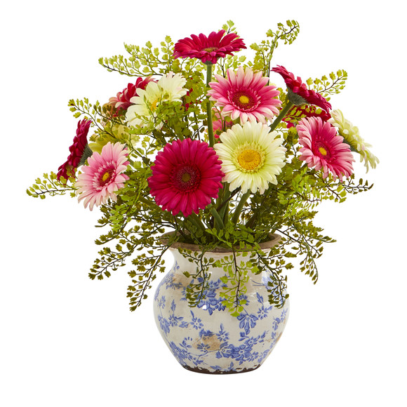 Gerber Daisy and Maiden Hair Artificial Arrangement in Vase - SKU #A1031 - 6